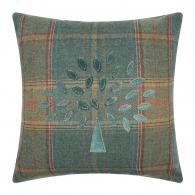 Mulberry Tree Plaid Cushion - 50x50cm - Teal